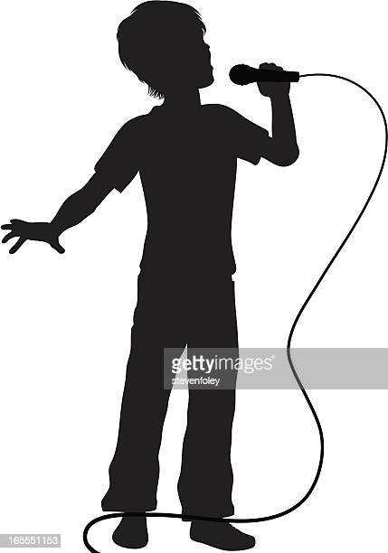 singer - boy with microphone - karaoke stock illustrations