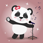 Singer Panda with a red bow, with a raised paw, sings into the microphone on a pink background, in the style of cartoons