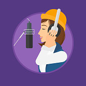 Singer recording song