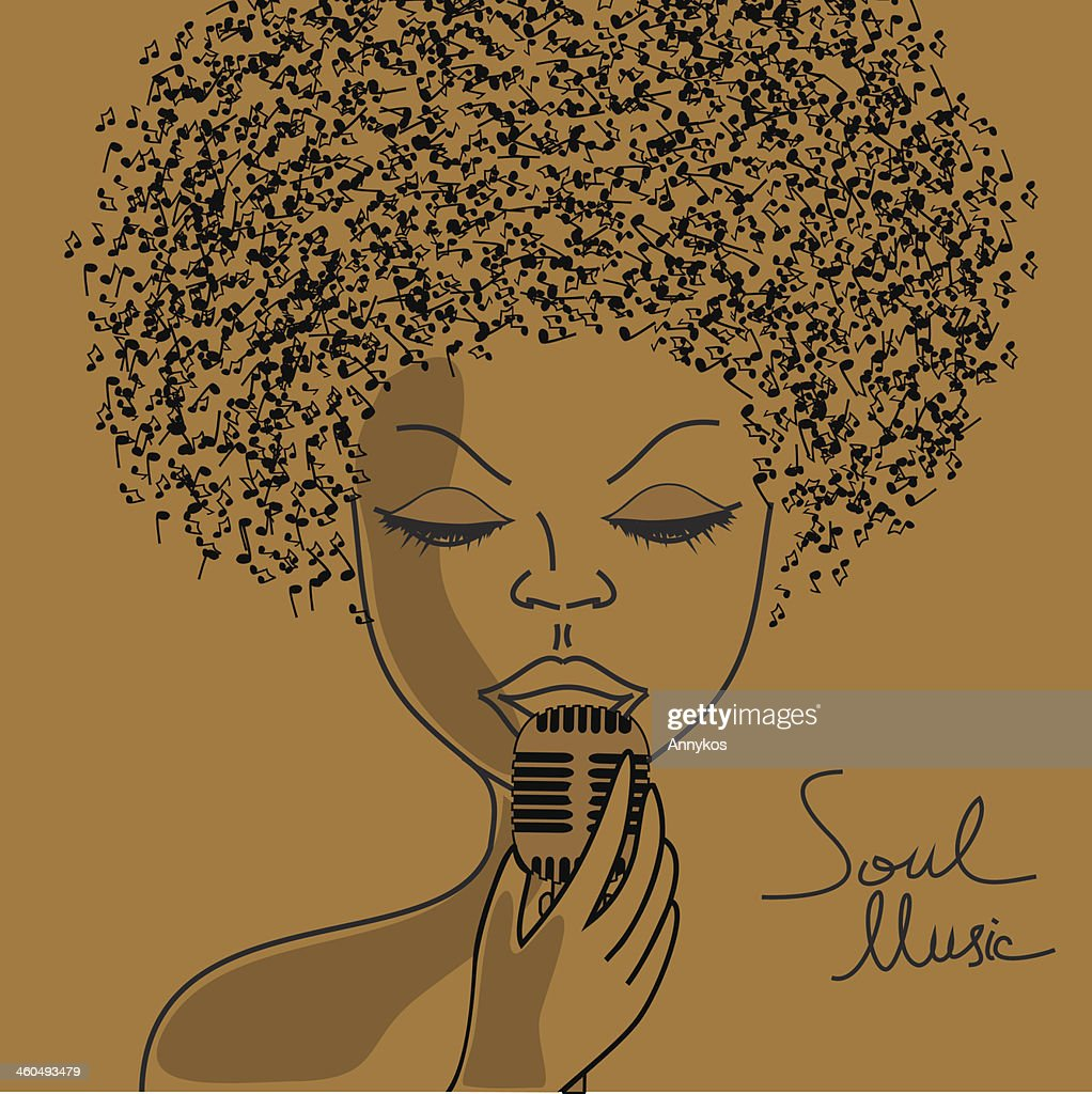 Singer silhouette with musical notes hair
