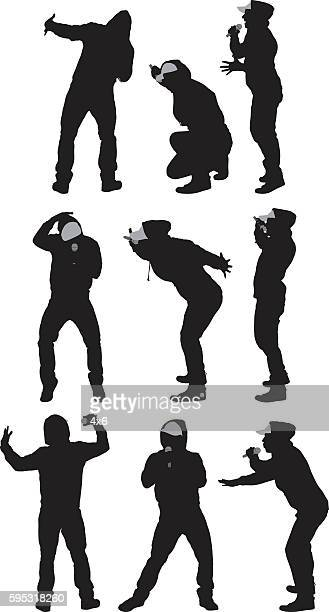 singer singing with microphone - hooded top stock illustrations