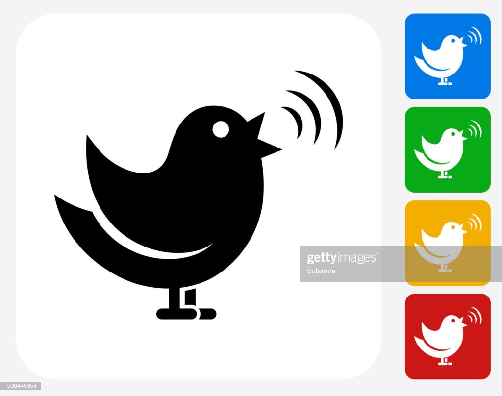 Singing Bird Icon Flat Graphic Design