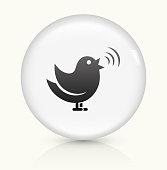 Singing Bird icon on white round vector button