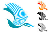 singing bird in flight (logo, sign, emblem, symbol)
