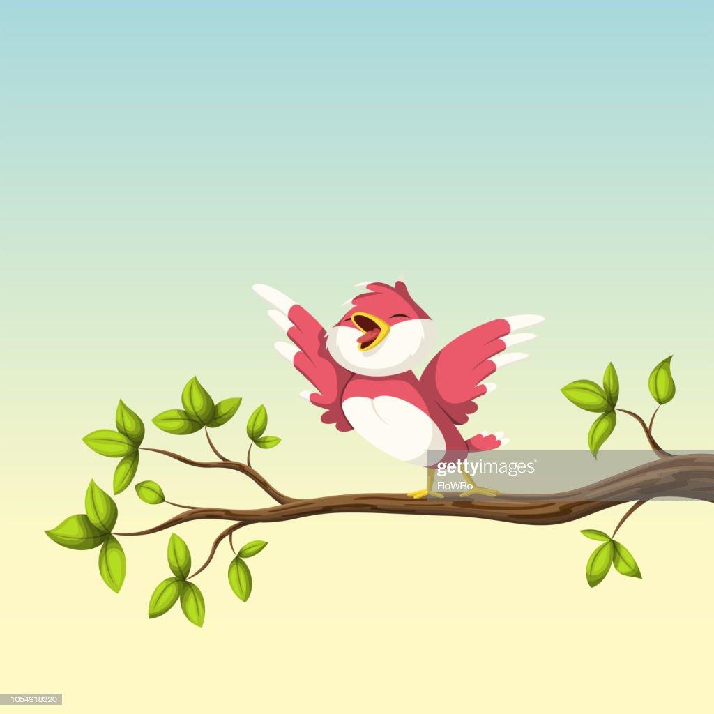 Singing Bird On A Branch
