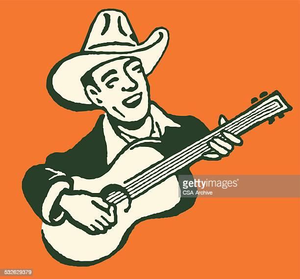 ilustraciones, imágenes clip art, dibujos animados e iconos de stock de canta con guitarra vaquero - puntear un instrumento