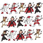 Singing Halloween and Christmas team