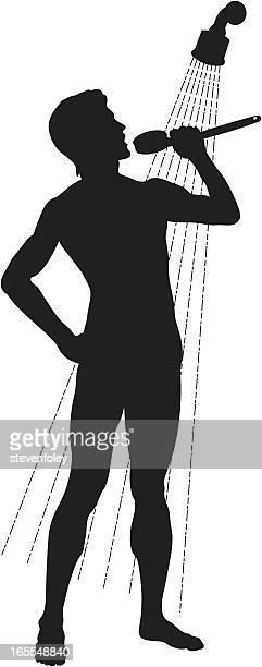 ilustraciones, imágenes clip art, dibujos animados e iconos de stock de canta en la ducha-man - ducha