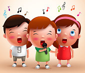 Singing kids vector characters holding microphone and performing