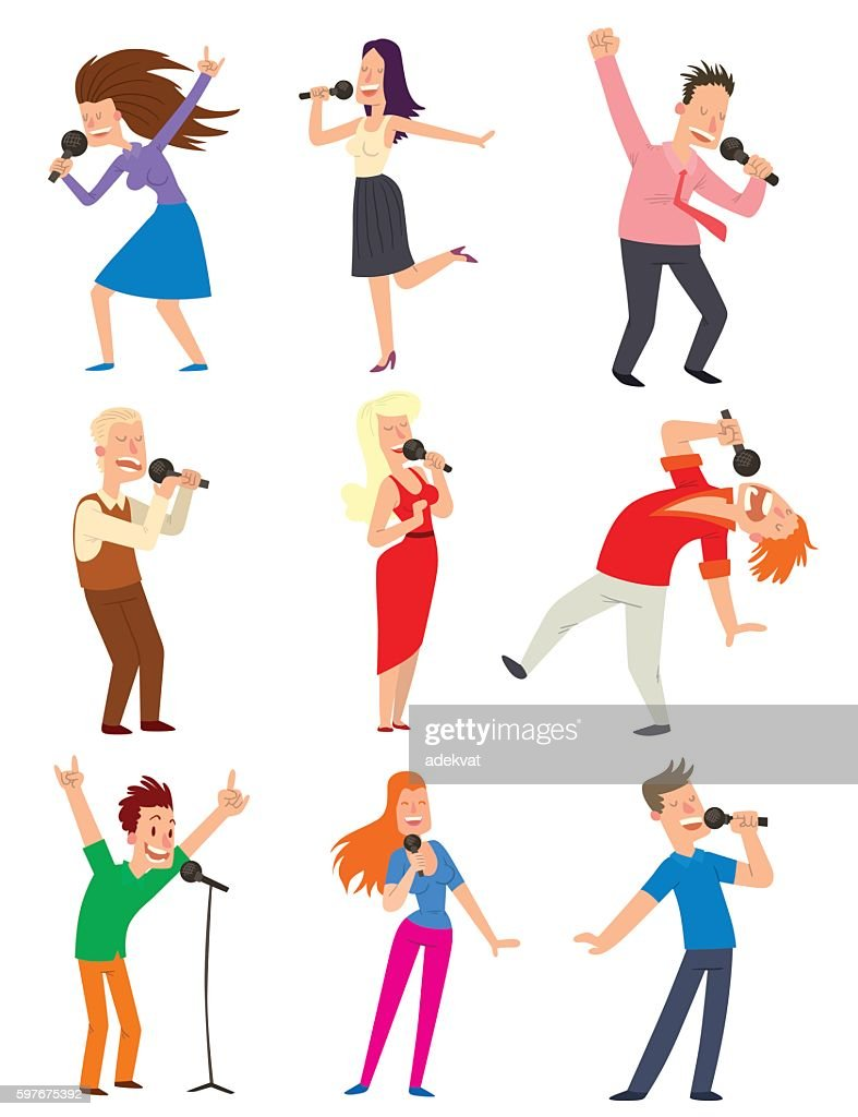 Singing people vector set.