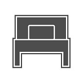 single bed icon. Element of minimalistic for mobile concept and web apps icon. Glyph, flat icon for website design and development, app development