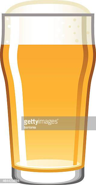 single beer glass icon isolated on white - beer glass stock illustrations, clip art, cartoons, & icons