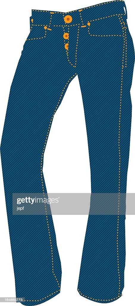 Single blue pair of jeans against a white background