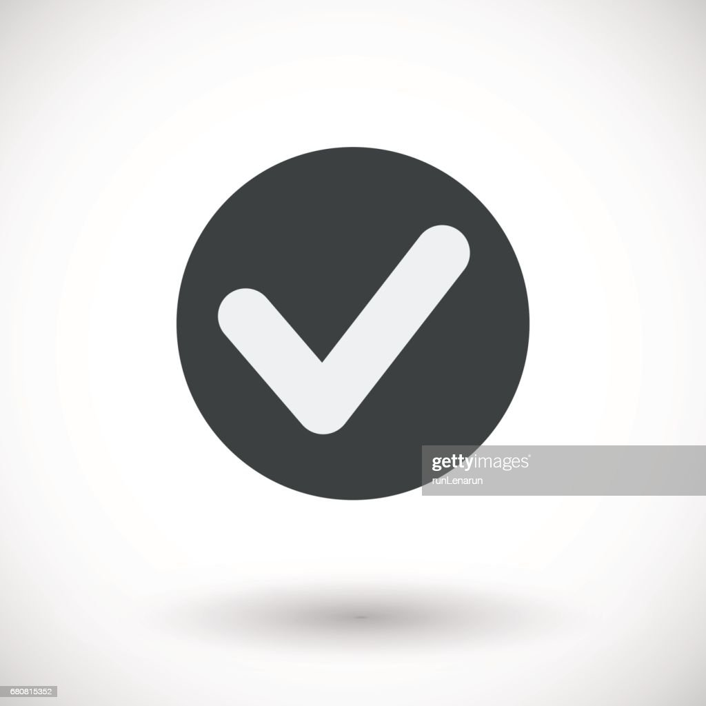 Single check mark vector flat icon