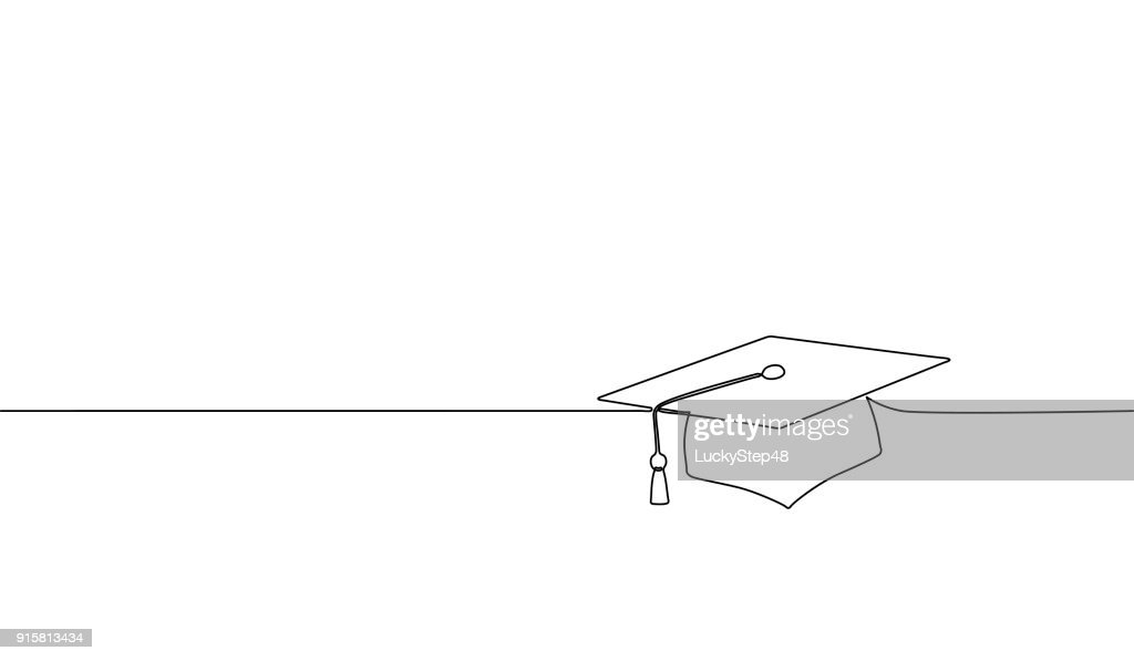 Single continuous line art graduation cap. Celebration ceremony master degree academy graduate design one sketch outline drawing vector illustration