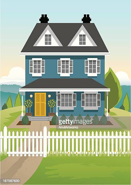 single country house - house exterior stock illustrations, clip art, cartoons, & icons