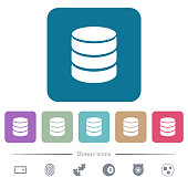 Single database flat icons on color rounded square backgrounds