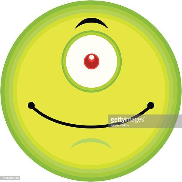 single emoticon (alien cyclop) - cyclops stock illustrations, clip art, cartoons, & icons