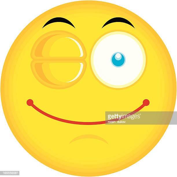 single emoticon (winking) - blink stock illustrations, clip art, cartoons, & icons