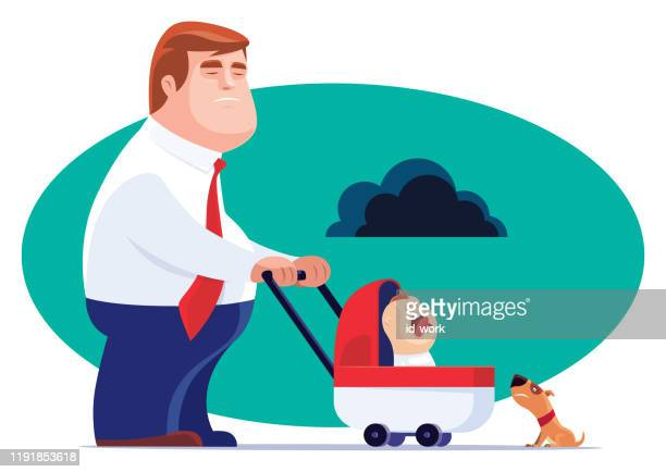 single father with crying baby - nanny stock illustrations
