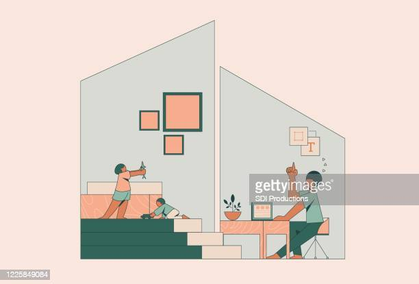 single father working from home during covid-19 pandemic - parent stock illustrations