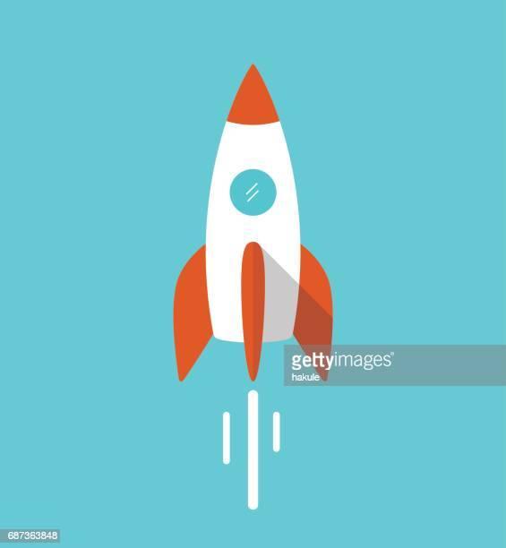 einzelne flache rakete fliegen in den raum, vektor-illustration - stapellauf stock-grafiken, -clipart, -cartoons und -symbole