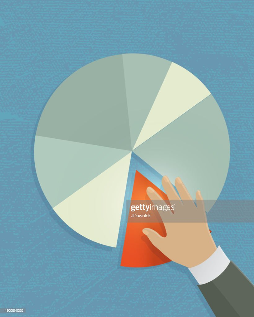 Single hand with Investment growth pie chart profit sharing business