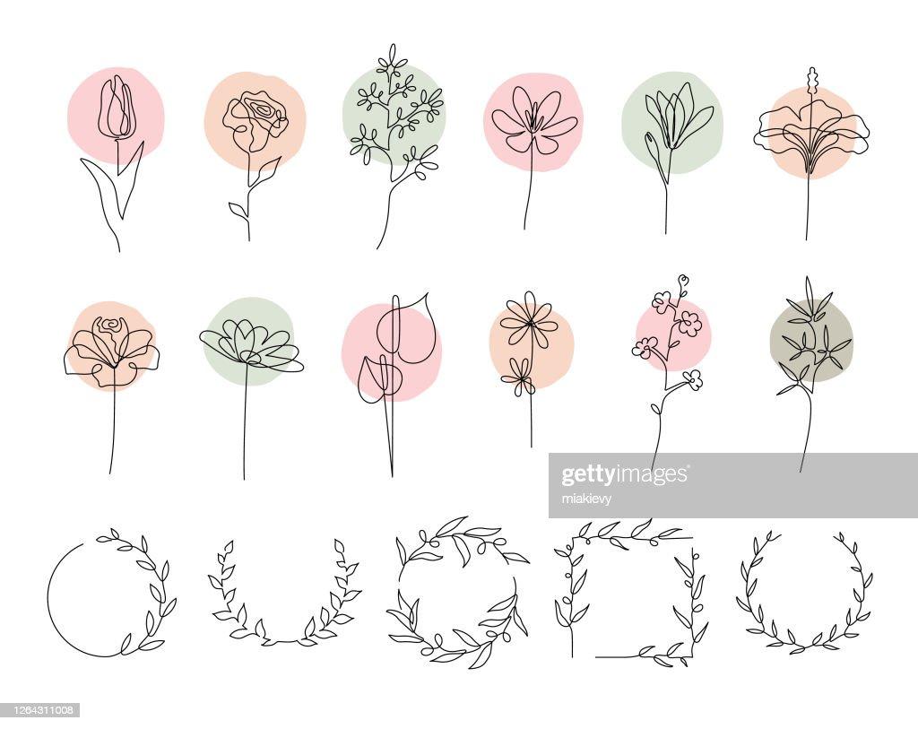 Ensemble de fleurs à ligne unique : Illustration