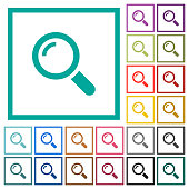 Single magnifier flat color icons with quadrant frames