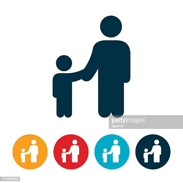 single parent with child icon - one parent stock illustrations