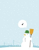 Single snowman singing on the winter day