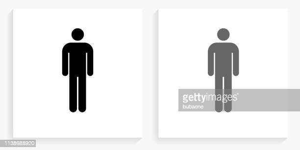 einzelne sticke figur schwarze und weiße quadrat ikone - strichmännchen stock-grafiken, -clipart, -cartoons und -symbole