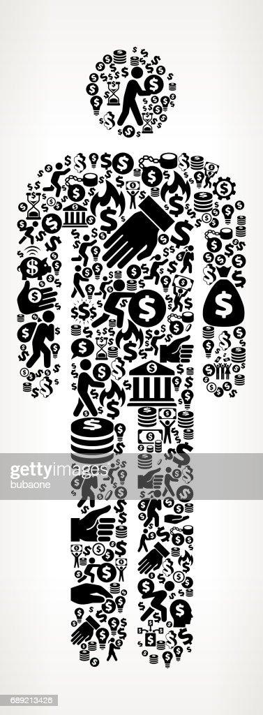 Single Sticke Figure Money and Finance Black and White Icon Background : Stock Illustration