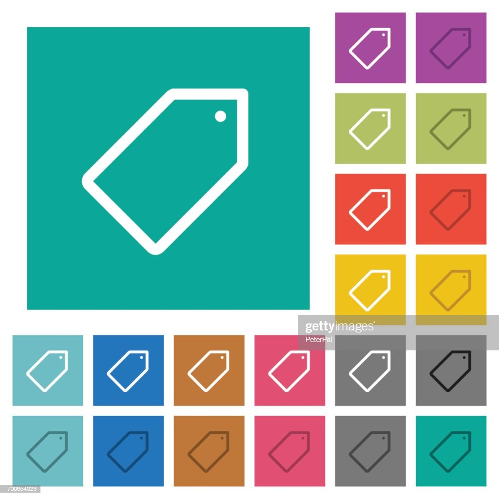 Single tag square flat multi colored icons