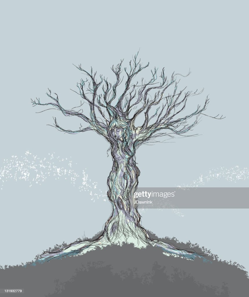 Single tree with figure of a woman : stock illustration