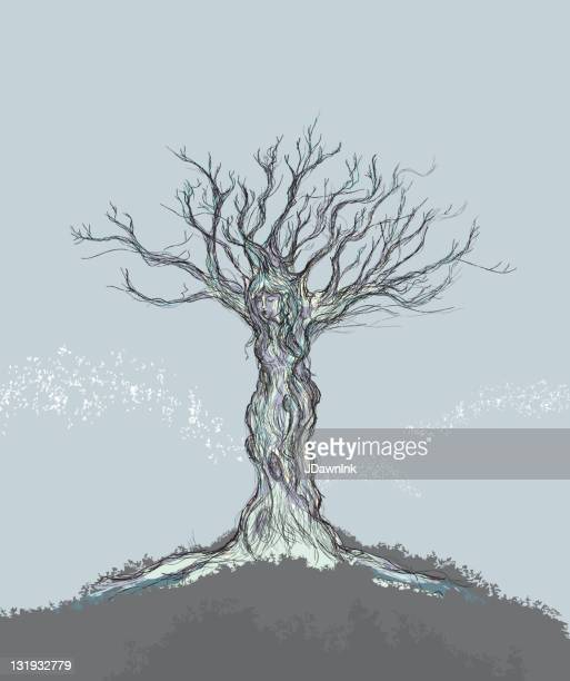 single tree with figure of a woman - goddess stock illustrations, clip art, cartoons, & icons