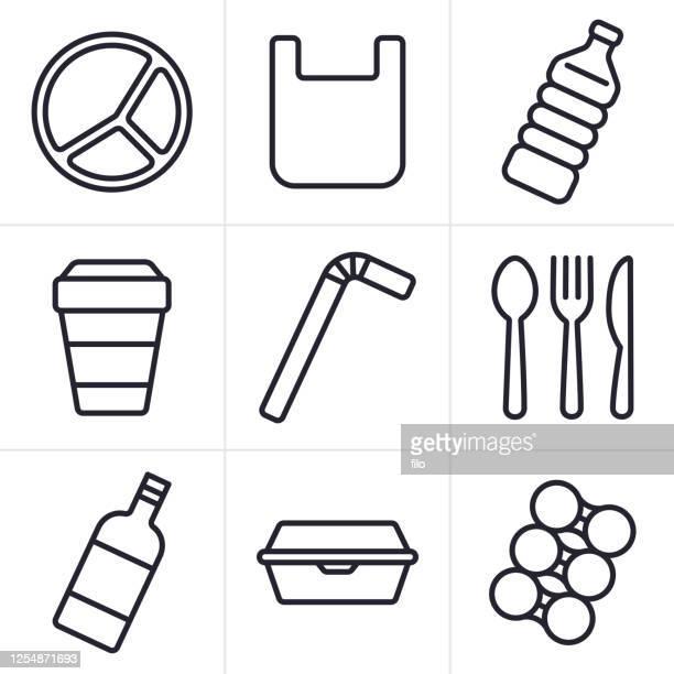 使い捨てプラスチックアイテムアイコンと記号を使う - プラスチック汚染点のイラスト素材/クリップアート素材/マンガ素材/アイコン素材