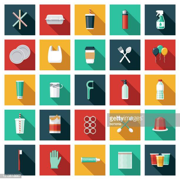 single use plastic icon set - water pollution stock illustrations