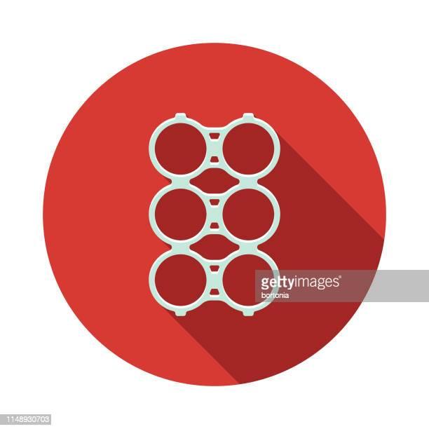 シングルユースプラスチックリングのアイコン - 6缶パック点のイラスト素材/クリップアート素材/マンガ素材/アイコン素材