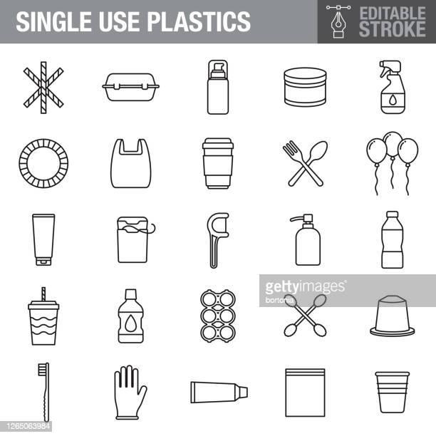 シングルユースプラスチック編集可能ストロークアイコンセット - プラスチック汚染点のイラスト素材/クリップアート素材/マンガ素材/アイコン素材
