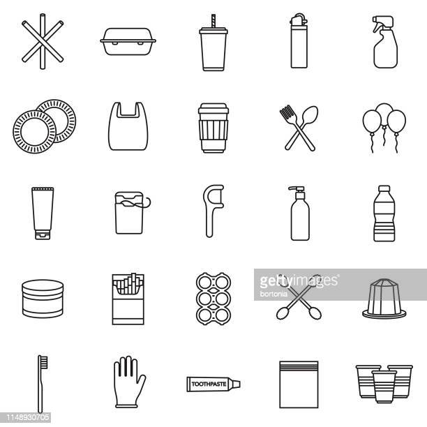 single use plastics icon set - dental floss stock illustrations
