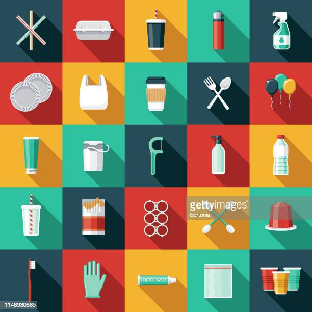single use plastics icon set - coffee drink stock illustrations