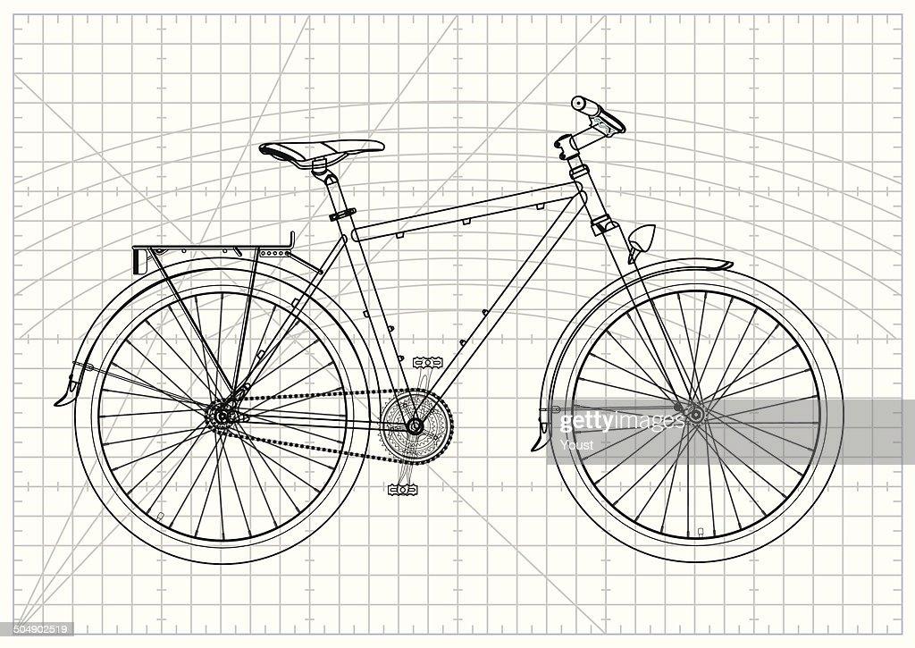 Single-speed City Bicycle Blueprint : Stock Illustration