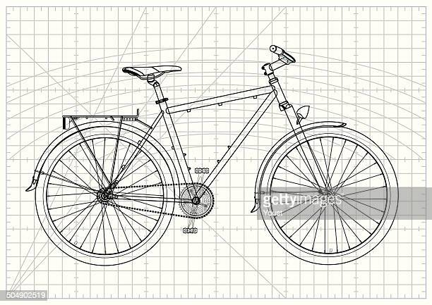 single-speed city bicycle blueprint - letrac stock illustrations