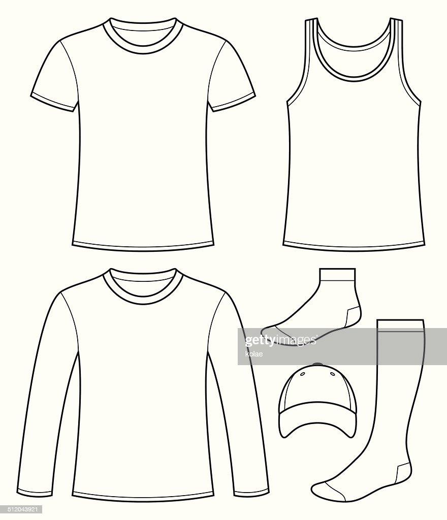 singlet tshirt longsleeved tshirt cap and socks template vector art