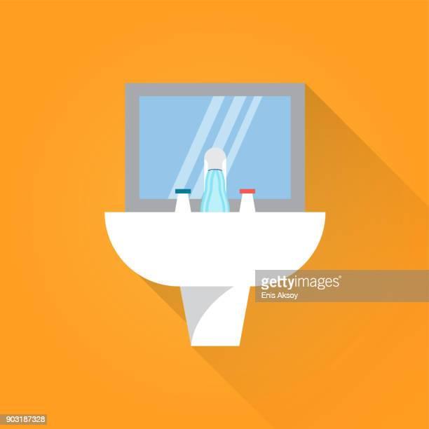 sink flat icon - bathroom stock illustrations, clip art, cartoons, & icons