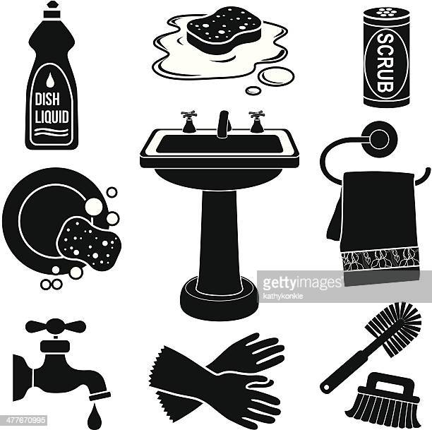 sink icon set - washing dishes stock illustrations, clip art, cartoons, & icons