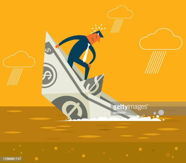 sinking boat - businessman - sunken stock illustrations