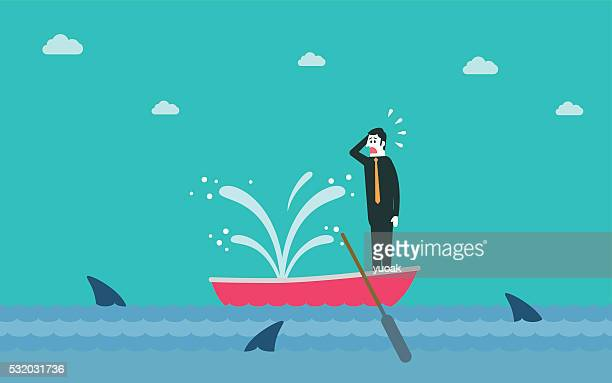 sinking boat - fountain stock illustrations, clip art, cartoons, & icons