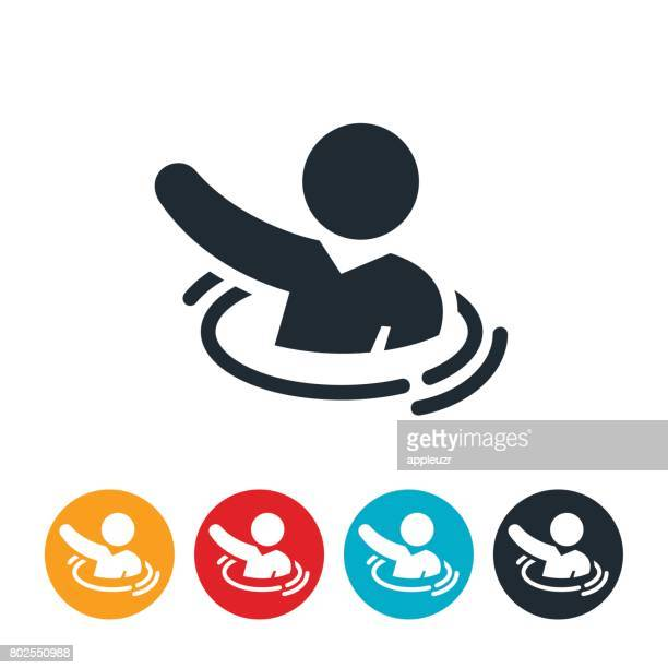 sinking businessperson icon - drowning stock illustrations, clip art, cartoons, & icons
